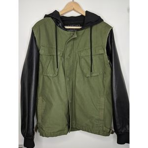 Army Inspired Utility Jacket with Leather Jacket